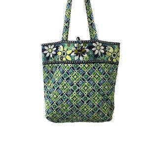 Vera Bradley Large Shoulder Bag Tote Blue Green